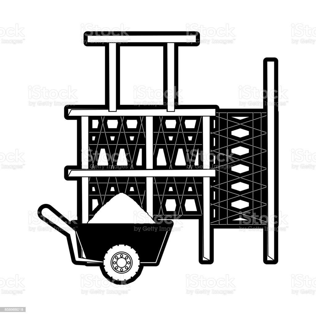 scaffold and wheelbarrow vector illustration vector art illustration