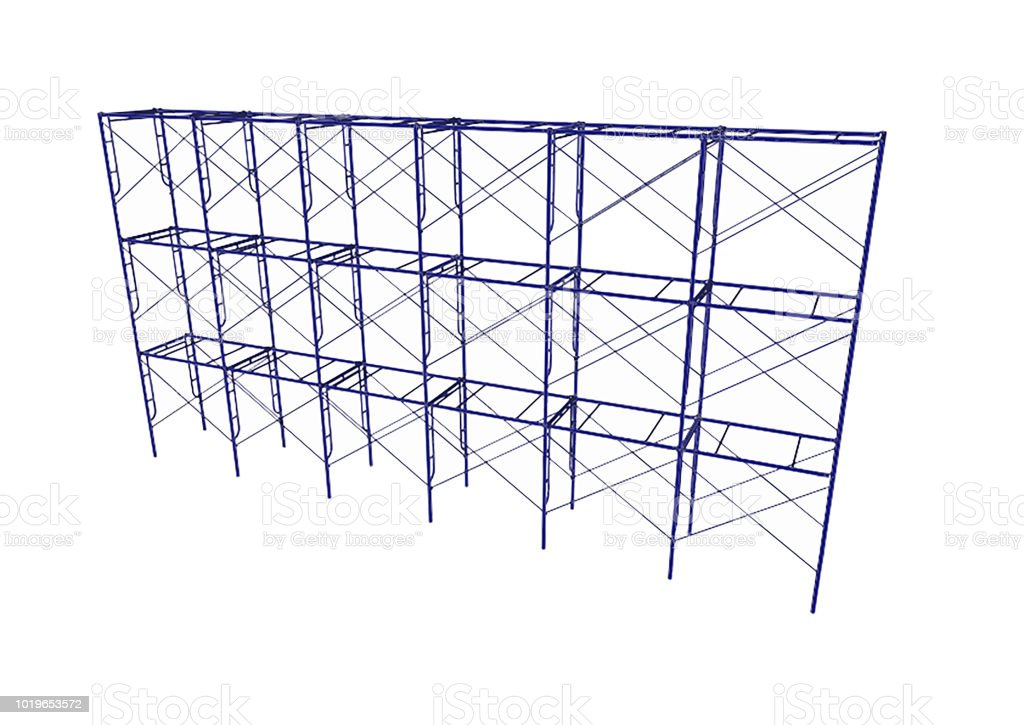 Scaffolding Frame 3 Floors Japanese Standard Type Isolated On White ...