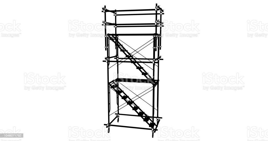 Scaffolding Frame 3 Floors Japanese Standard Type Isolated On White ...