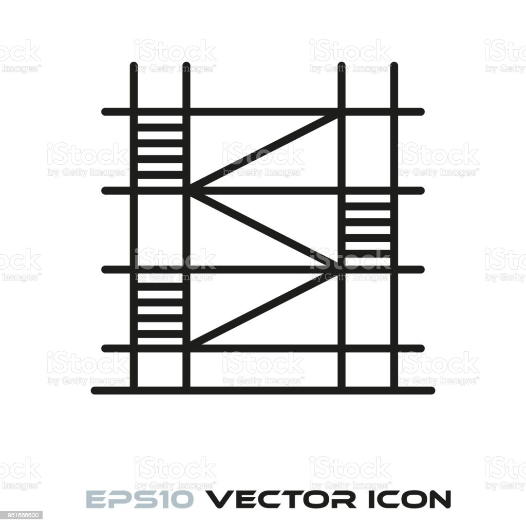 Scaffolding line icon vector vector art illustration