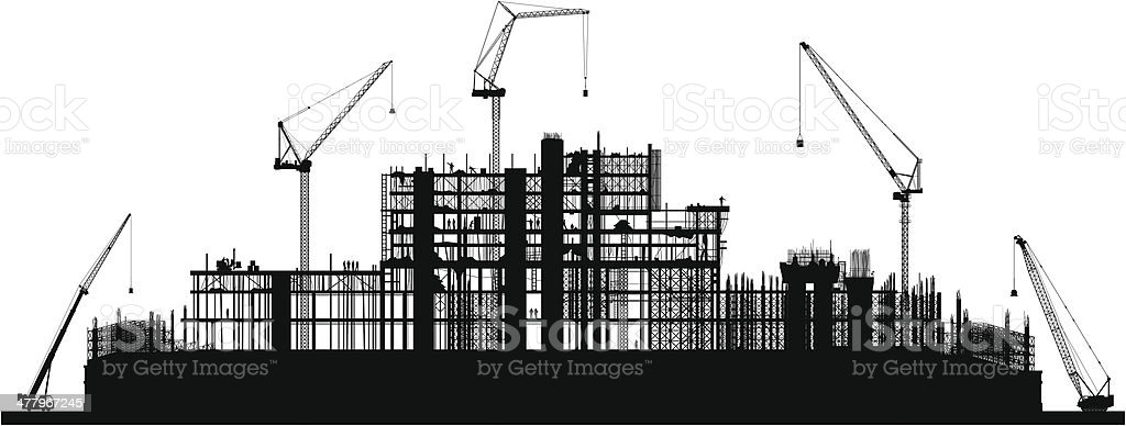 Scaffolding (Each Crane is Moveable and Complete) royalty-free scaffolding stock vector art & more images of black and white