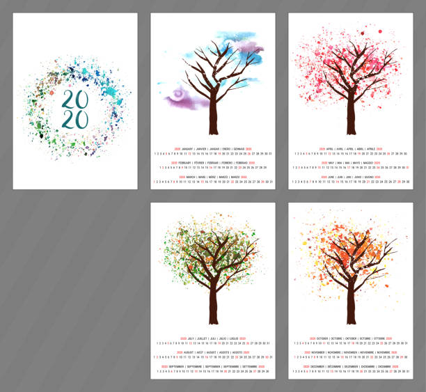 a scalable vector calendar for the year 2020 with a watercolor and vector drawing of a tree changing as the seasons change, with four pages and a cover with an abstract texture, with copy space - cztery pory roku stock illustrations