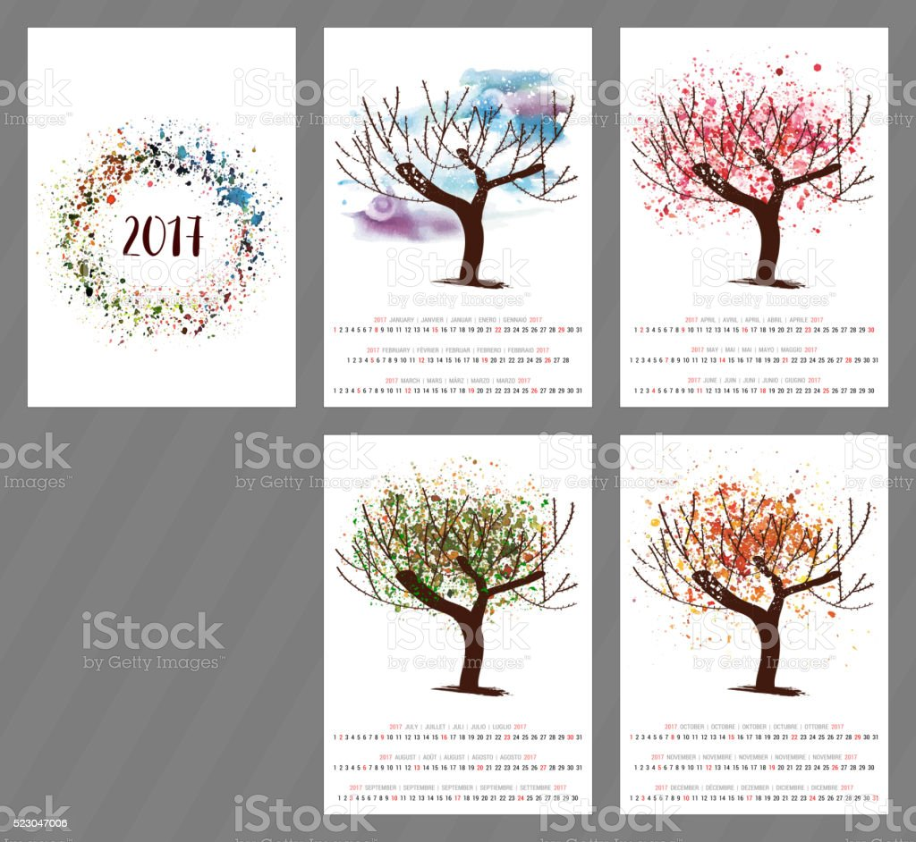 Scalable vector calendar for year 2017 with watercolor textures vector art illustration