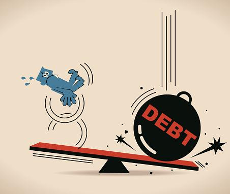 Scale (seesaw), businessman, debt burden, debt gain heavier than man