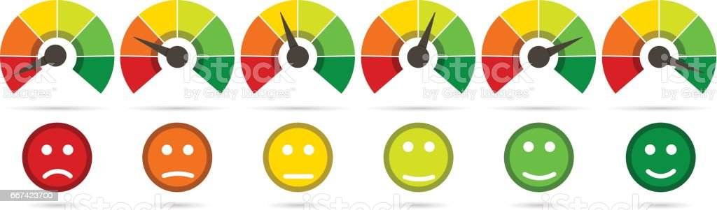 Scale from red to green with arrow and scale of emotions vector art illustration