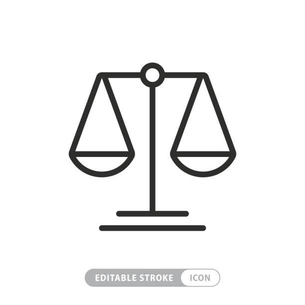 skalierungssymbol mit bearbeitbarem strich und pixel perfekt - gleichgewicht stock-grafiken, -clipart, -cartoons und -symbole
