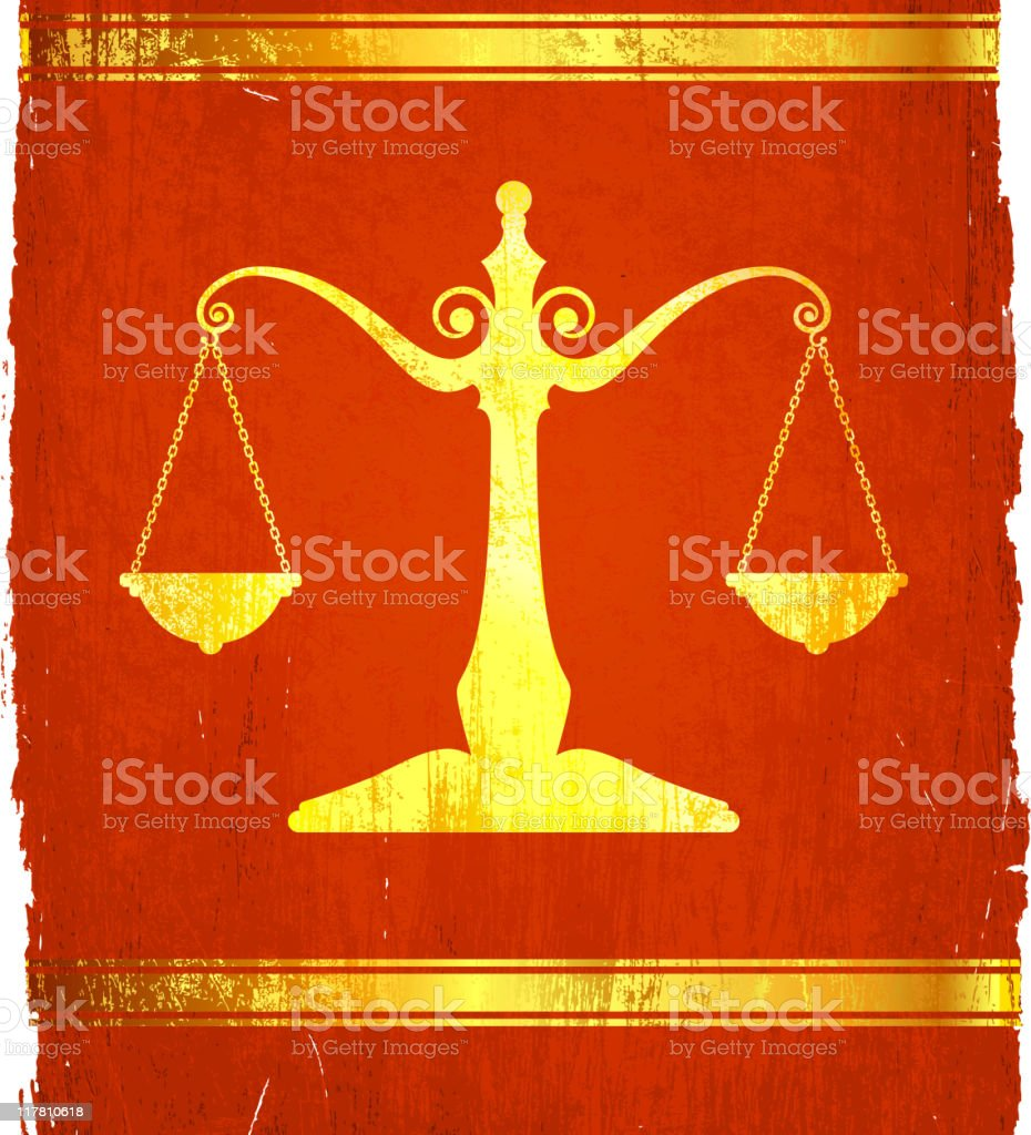 Scale Of Justice on royalty free vector Background royalty-free stock vector art