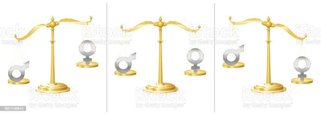 Scale With Male And Female Symbol Balanced And Unbalanced Symbol For