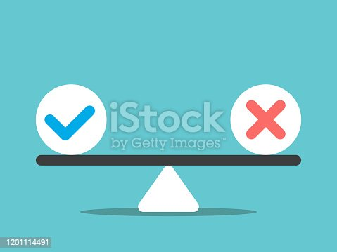 Check mark and cross on scale. Right and wrong, yes and no, positive and negative, choice and decision concept. Flat design. EPS 8 vector illustration, no transparency, no gradients