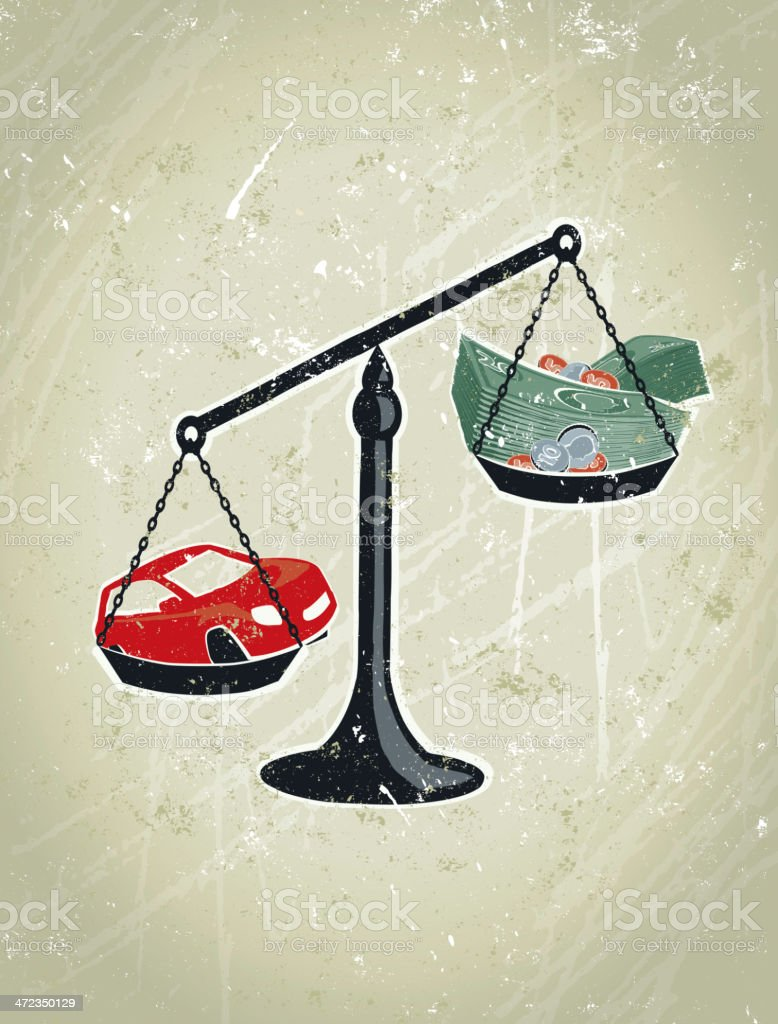 Scales and Money with Motor Car vector art illustration