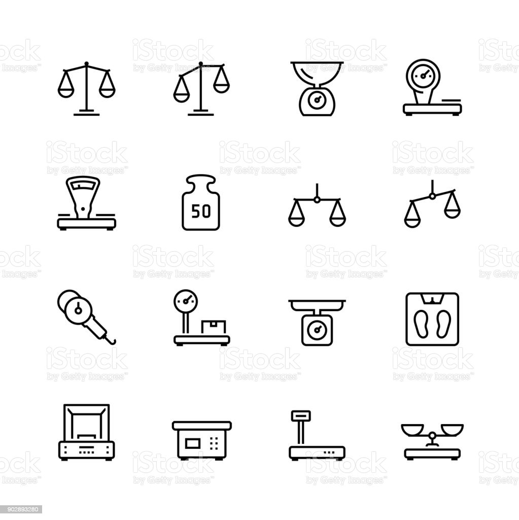 Scales and weighing vector icon set in thin line style vector art illustration