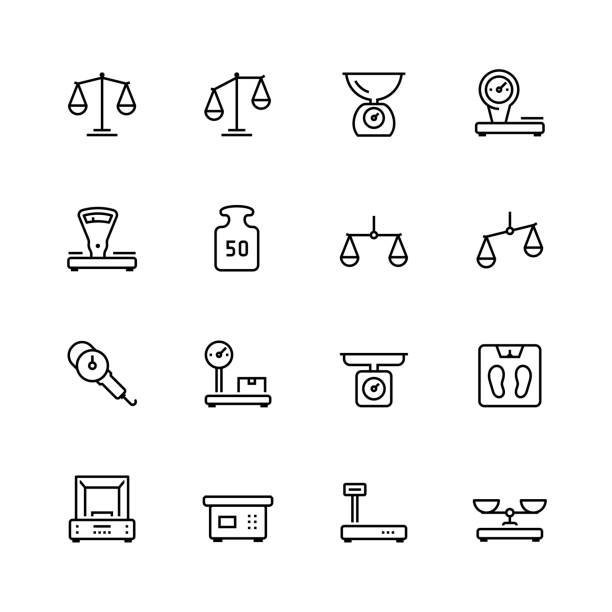 scales and weighing vector icon set in thin line style - waga opis fizyczny stock illustrations