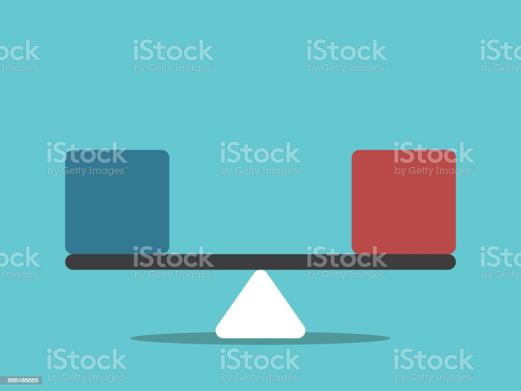 Scales, blue, red cubes vector art illustration