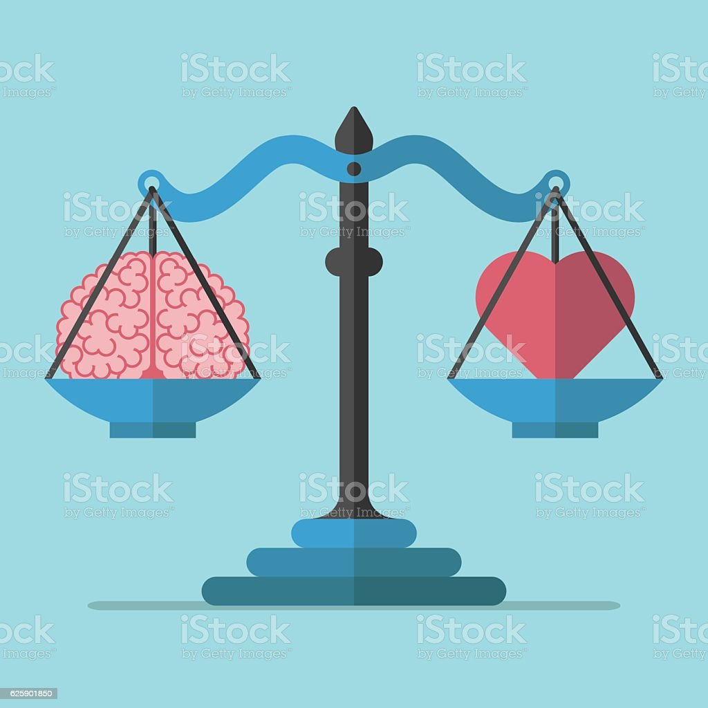 Scales, brain and heart vector art illustration