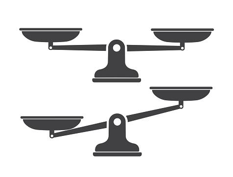 Scales, Flat design, vector illustration. Libra, vector