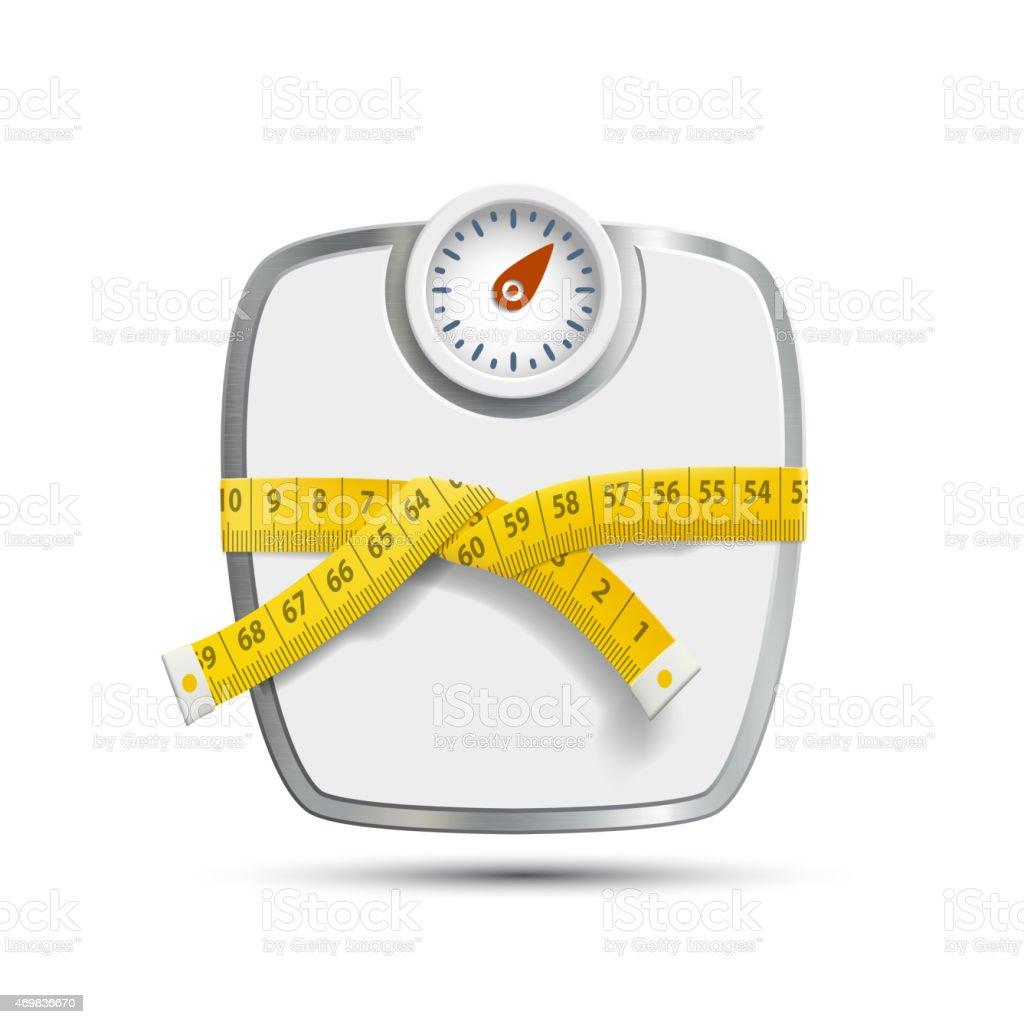 Waage für bis zu einem Gewicht von mit dem Maßband. – Vektorgrafik