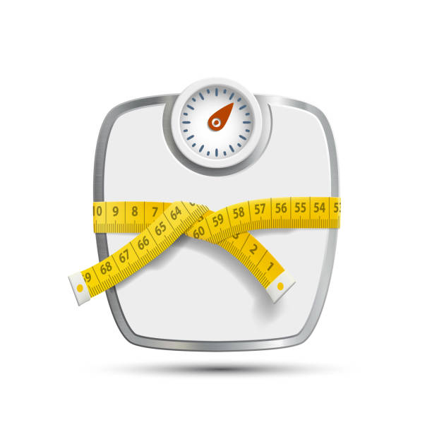 Scales for weighing with the measuring tape. Scales for weighing with the measuring tape. Vector image. weight loss stock illustrations