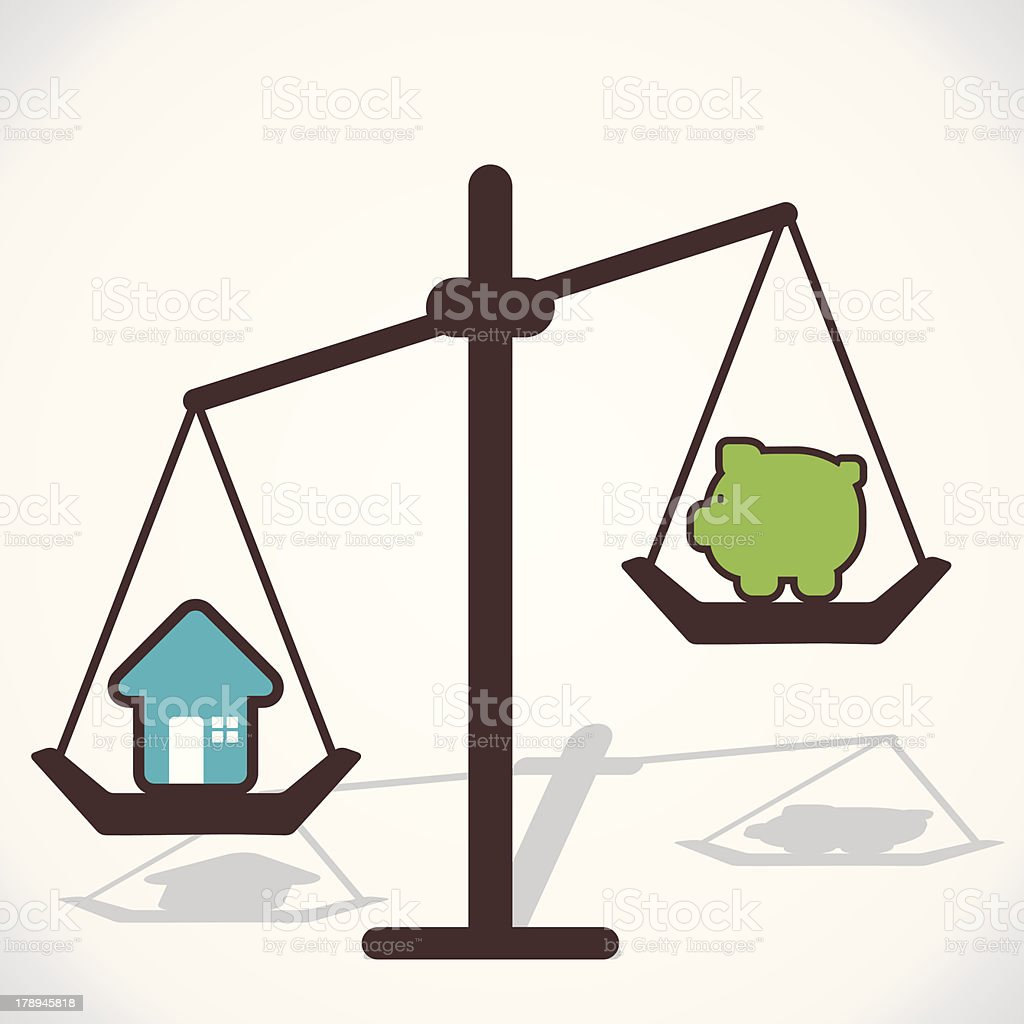 scales home and saving money vector art illustration