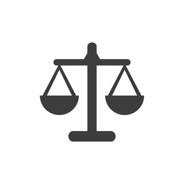 waage-symbol auf weißem hintergrund. - gleichgewicht stock-grafiken, -clipart, -cartoons und -symbole