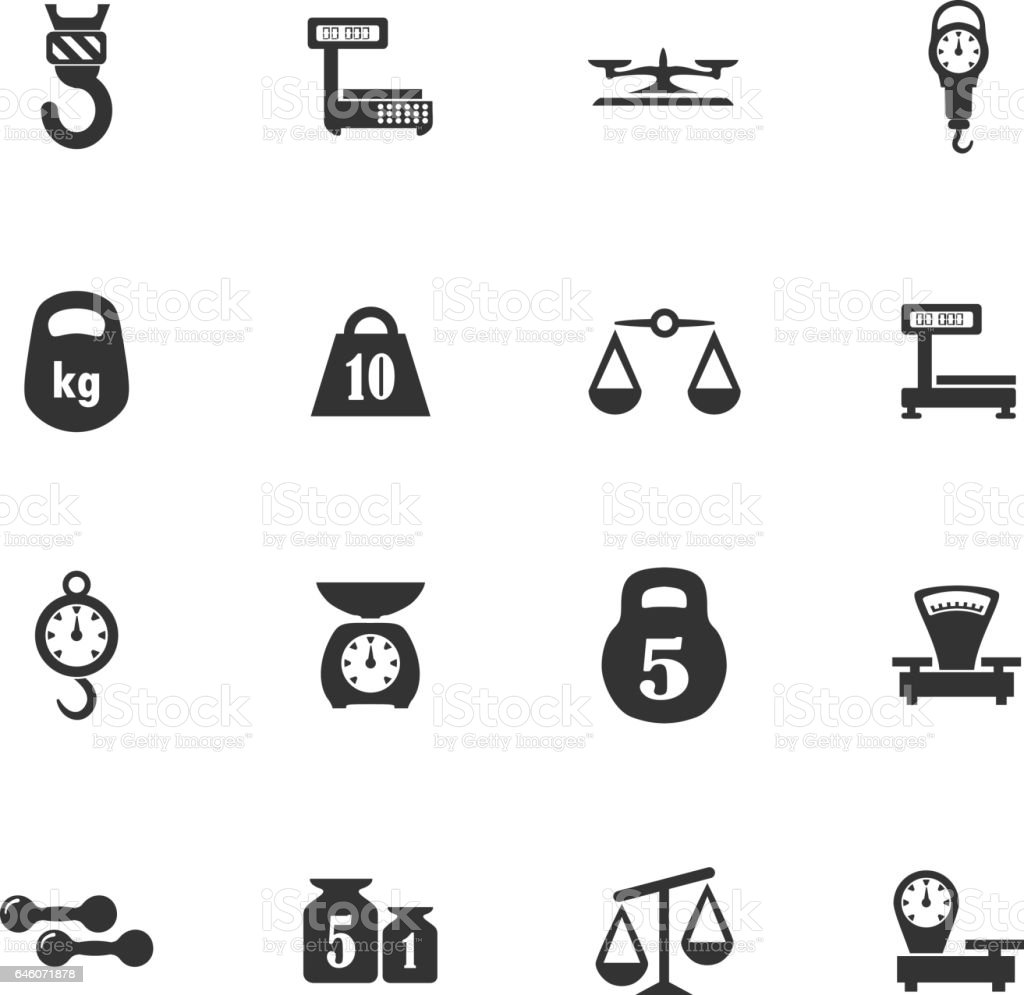 Scales icons set vector art illustration