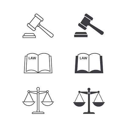 Scales, law book and gavel justice icon set, Vector isolated illustration.