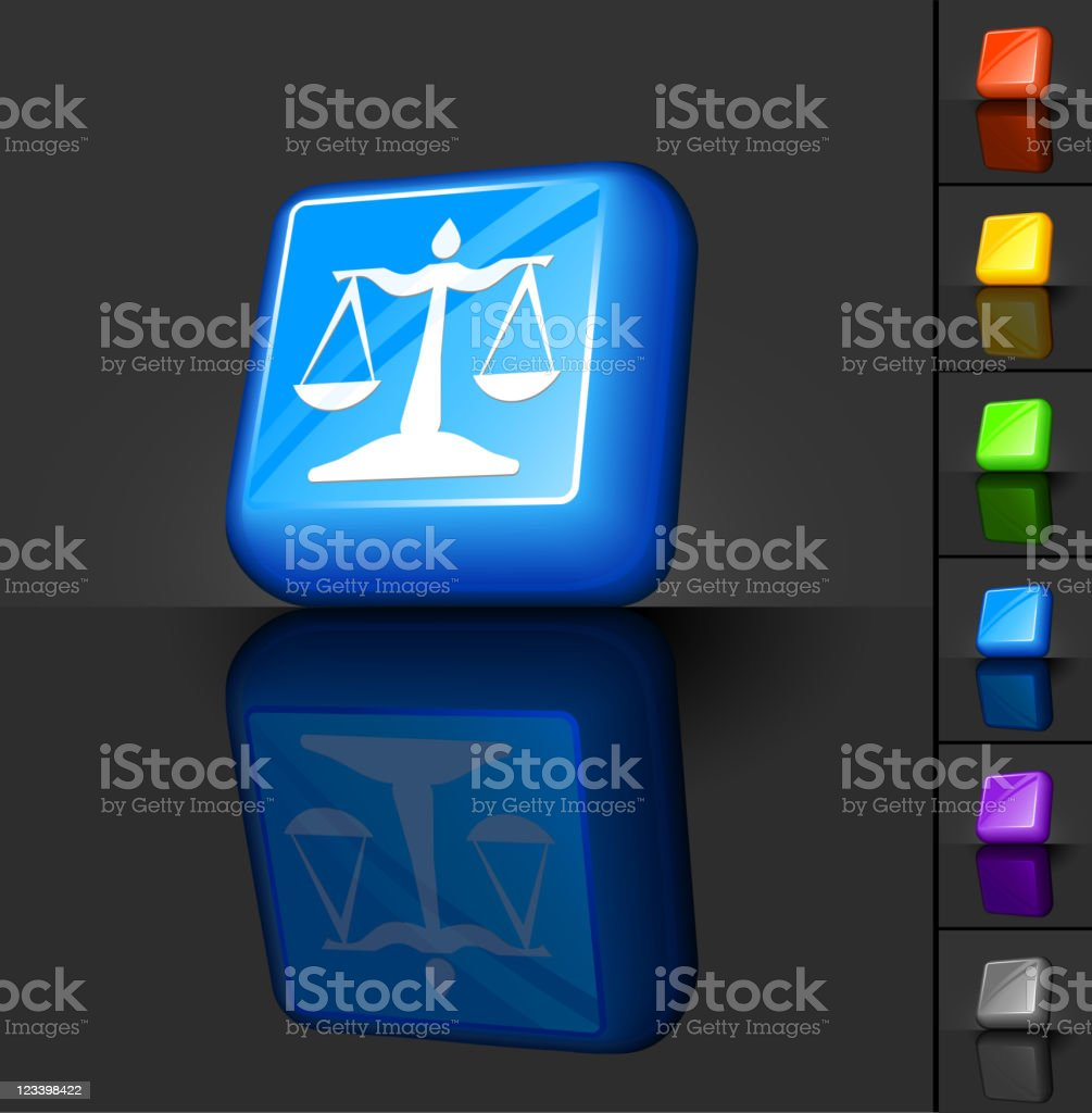 scales of justice 3D button design royalty-free stock vector art