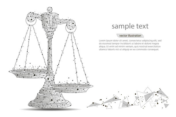 illustrazioni stock, clip art, cartoni animati e icone di tendenza di scales of justice. abstract design of scales, in the form of lines and dots on a white background with space for text. vector illustration - balance graphics