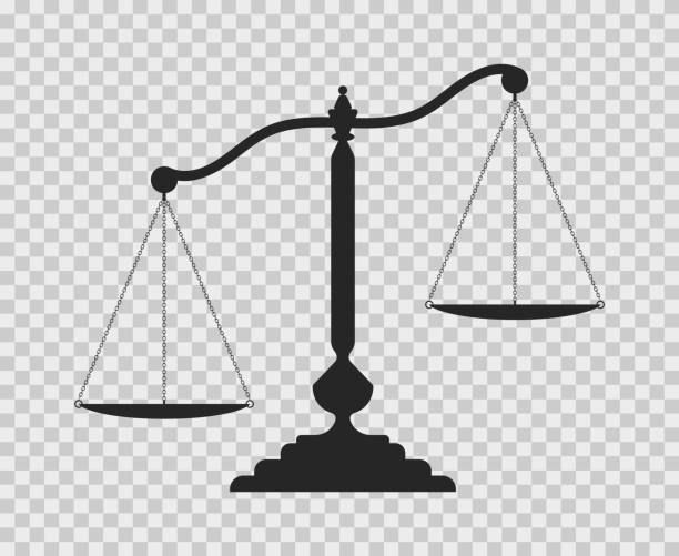 Scales of justice. Dark empty scale on transparent background. Classic balance icon. Law balance symbol. Vector illustration judge law stock illustrations