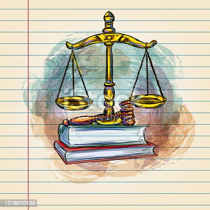 Drawing of Scales of Justice in watercolour style on ruled paper. Elements are grouped.contains eps10 and high resolution jpeg.