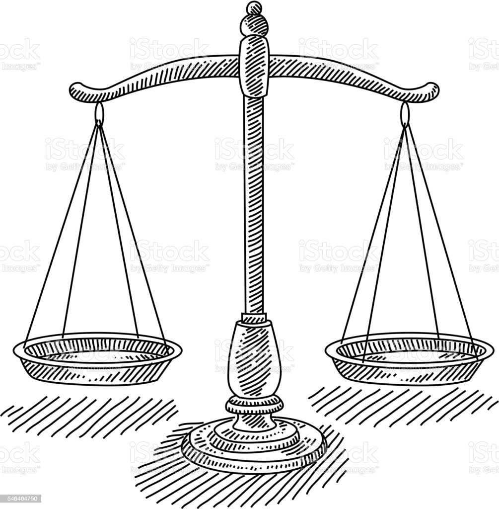 Scales of Justice Drawing - ilustración de arte vectorial