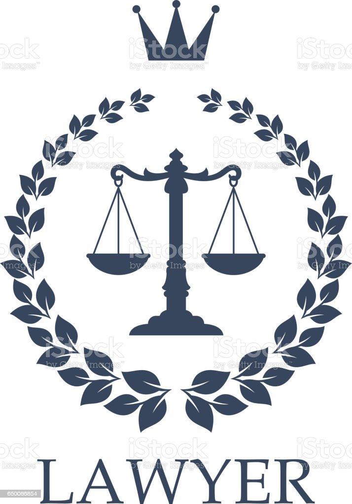 Escalas do emblema da justiça para o projeto da firma de lei - ilustração de arte em vetor