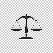 Scales of justice icon isolated on transparent background. Court of law symbol. Balance scale sign. Flat design. Vector Illustration