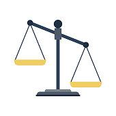 Empty scales. Scales of justice. Law balance symbol. Libra. Vector illustration