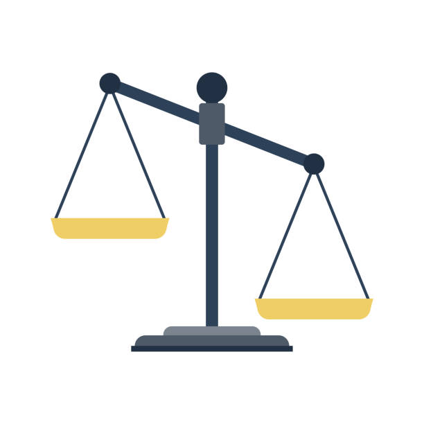 scales of justice icon. - weight scale stock illustrations