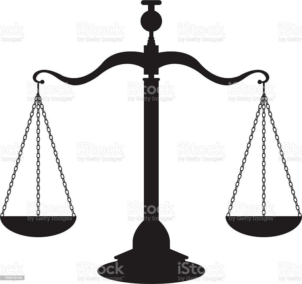 Scales of justice in black against a white background vector art illustration