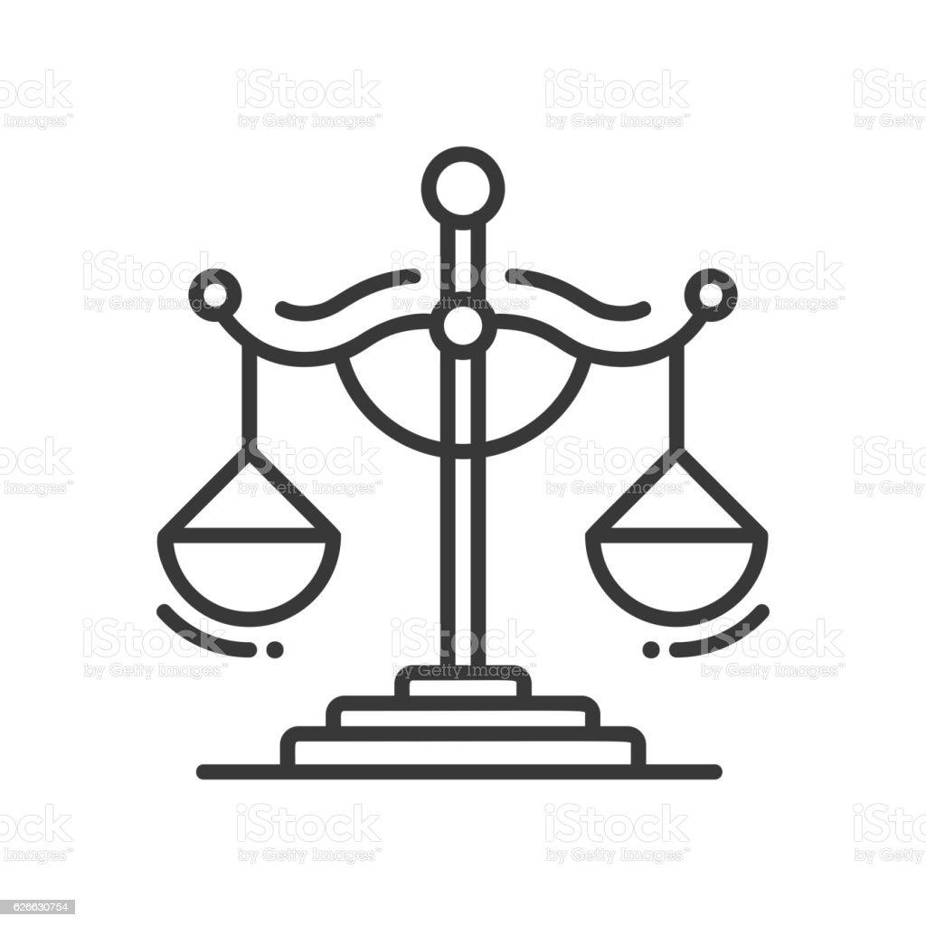 Scales of Justice - line design single isolated icon vector art illustration