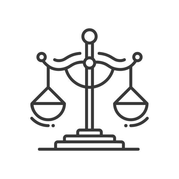 illustrations, cliparts, dessins animés et icônes de scales of justice - line design single isolated icon - notaire