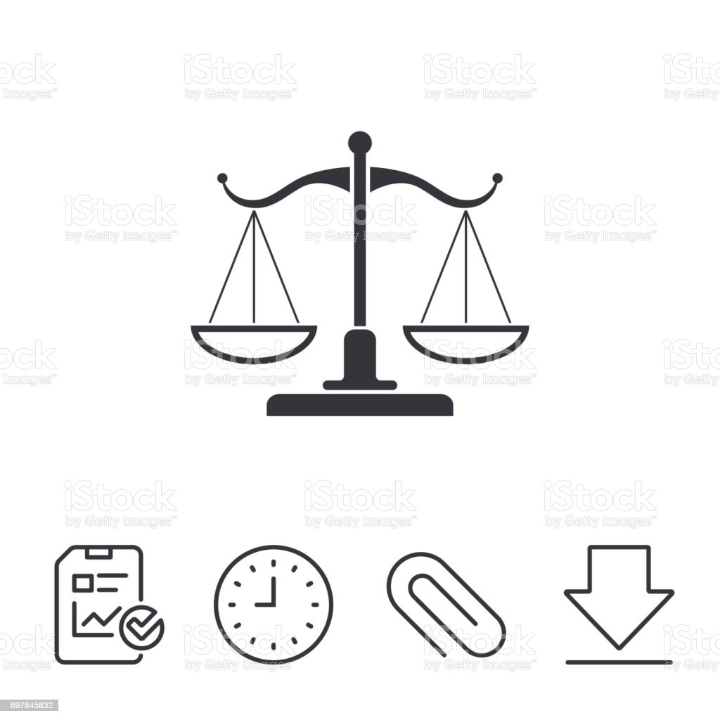 Scales Of Justice Sign Icon Court Of Law Symbol Stock Vector Art