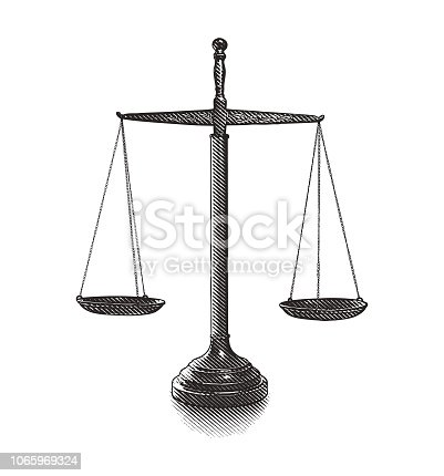 Cut out scales of justice engraving