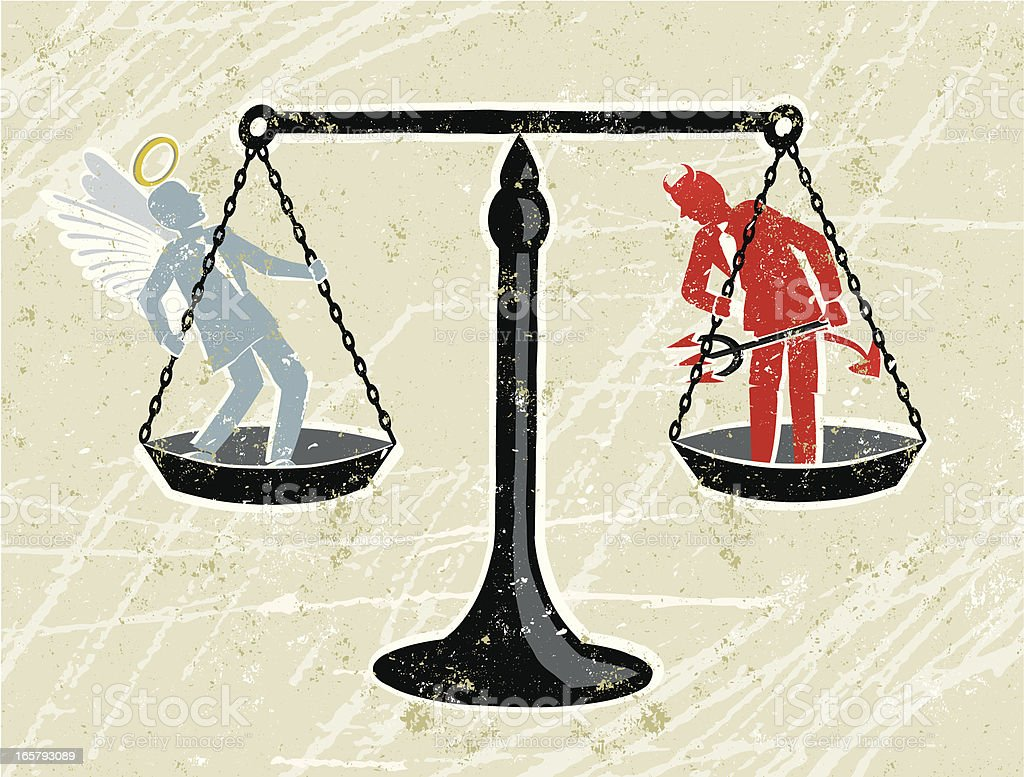 Scales of Justice with an Angel and Devil Businessman Judgement Day! A stylized vector cartoon of some scales with an Angel and a devil being weighed, reminiscent of an old screen print poster and suggesting choice, temptation, consequences, balance,opposites,, good and evil, justice, dilemma or judgement. Scales, Angel, Devil, paper texture, and background are on different layers for easy editing. Please note: clipping paths have been used, an eps version is included without the path. Adult stock vector