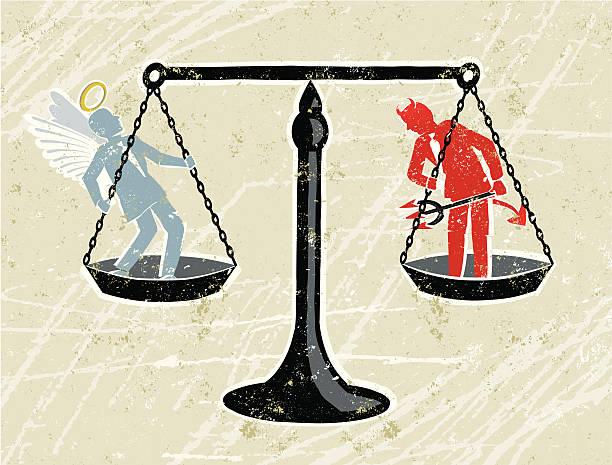 illustrazioni stock, clip art, cartoni animati e icone di tendenza di scale della giustizia con un uomo d'affari di angel e devil - malvagità