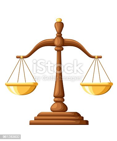 Scales of Justice. Wooden scales balance sign. Vector illustration isolated on white background. Web site page and mobile app design.
