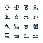 Scales, weighing, balance vector icon set