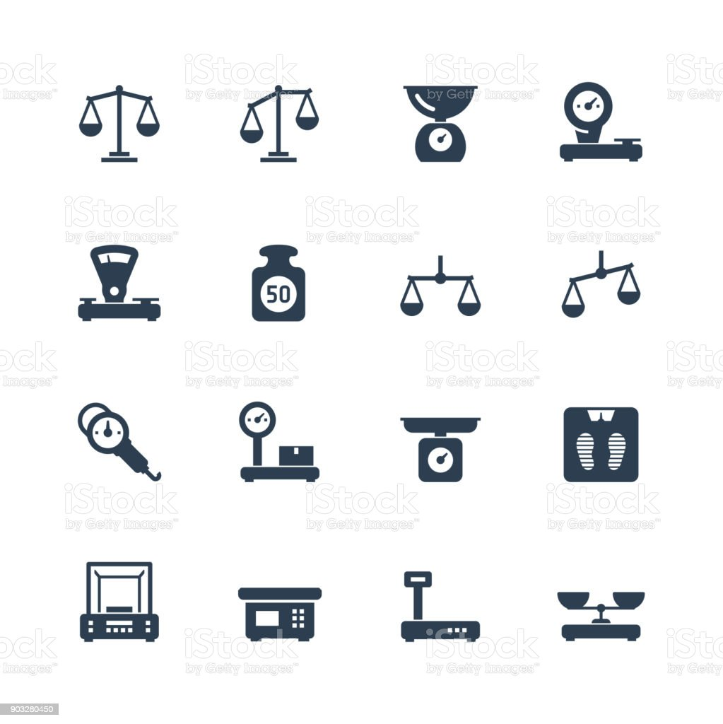 Scales, weighing, balance vector icon set vector art illustration