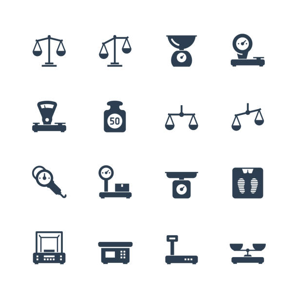 scales, weighing, balance vector icon set - waga opis fizyczny stock illustrations