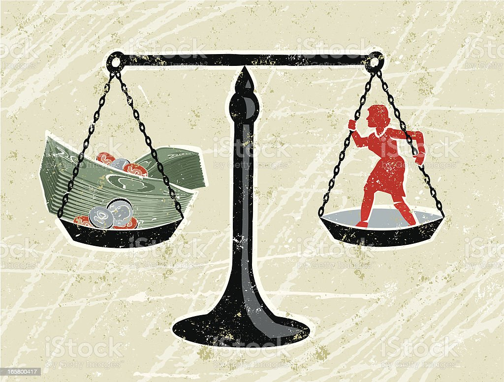 Scales with Business Woman and Money vector art illustration