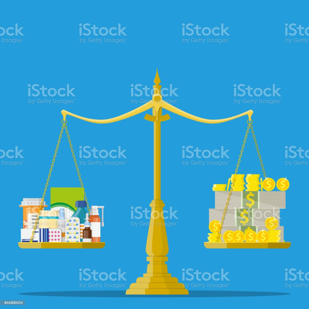 Scales with Medicine bottle, pills and money royalty-free scales with medicine bottle pills and money stock illustration - download image now