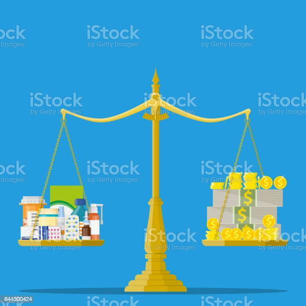 Scales With Medicine Bottle Pills And Money Stock Illustration - Download Image Now