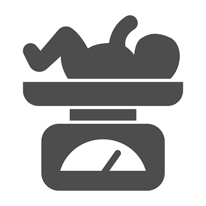 Scales with newborn child solid icon, Medical concept, balance with child sign on white background, Baby on scale icon in glyph style for mobile concept and web design. Vector graphics.