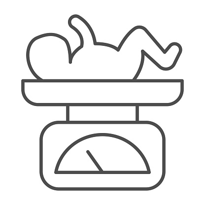 Scales with newborn child thin line icon, Medical concept, balance with child sign on white background, Baby on scale icon in outline style for mobile concept and web design. Vector graphics.